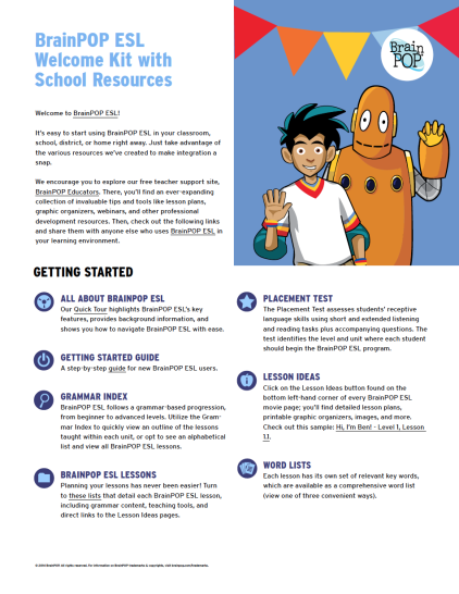 infographic about school resources for BrainPOP ESL