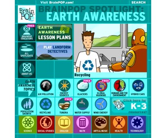BrainPOP Spotlight_ Earth Awareness Movies, quizzes, activities, teacher resources and lesson plans.-1