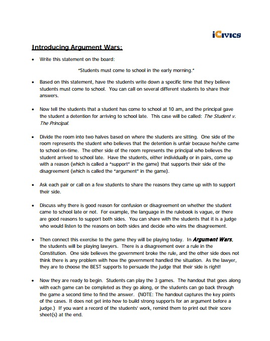 Argument Wars Lesson Plan and Worksheet