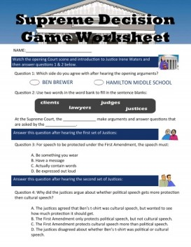 Social Studies game worksheet!