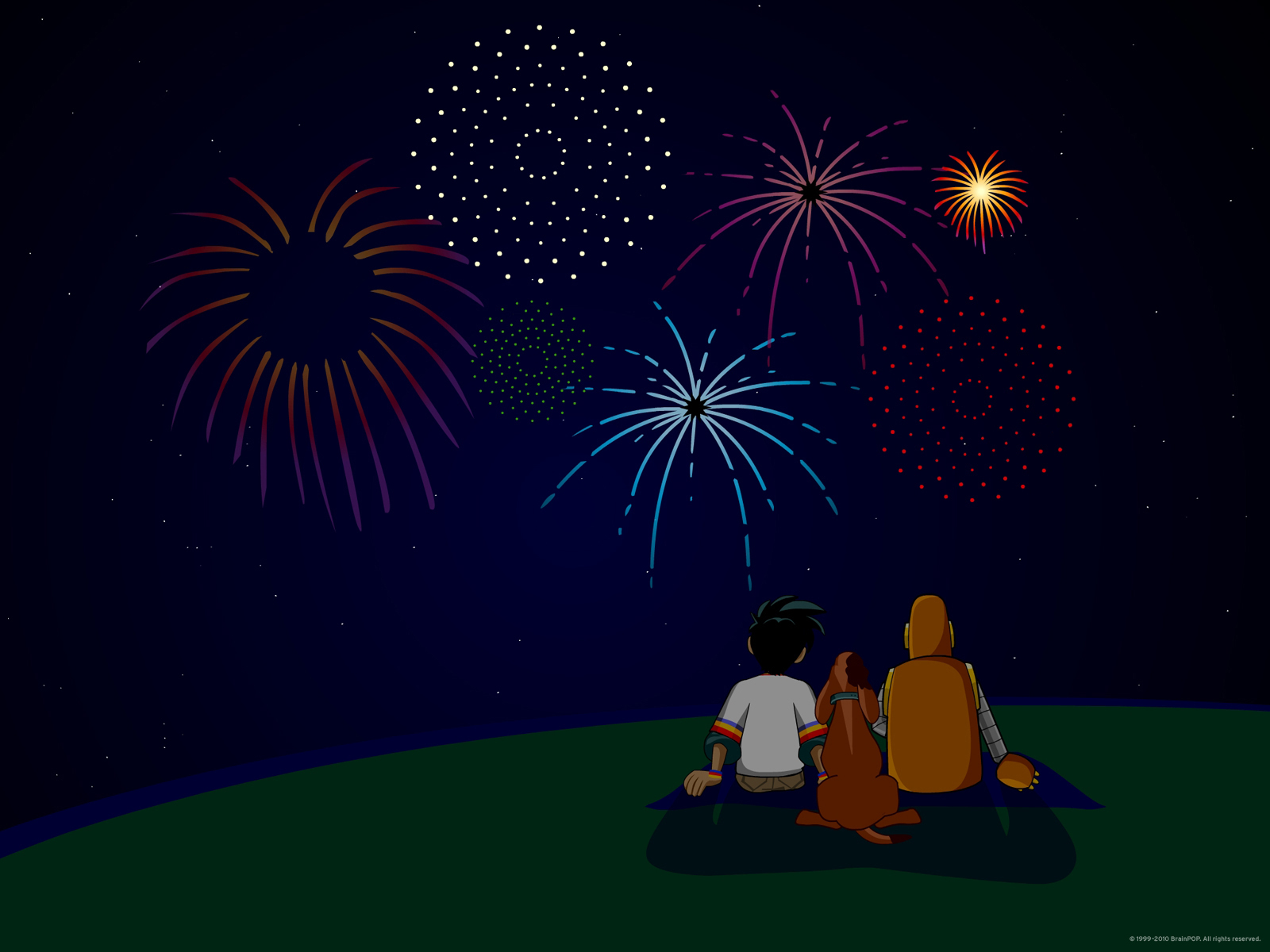 Moby and Ben Fireworks Wallpaper