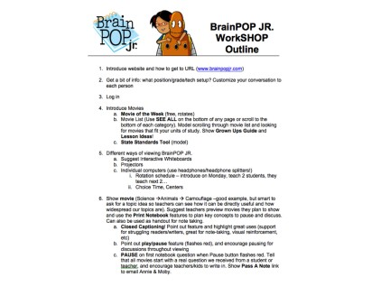 Use this teachers' outline when introducing BrainPOP Jr. to your staff!