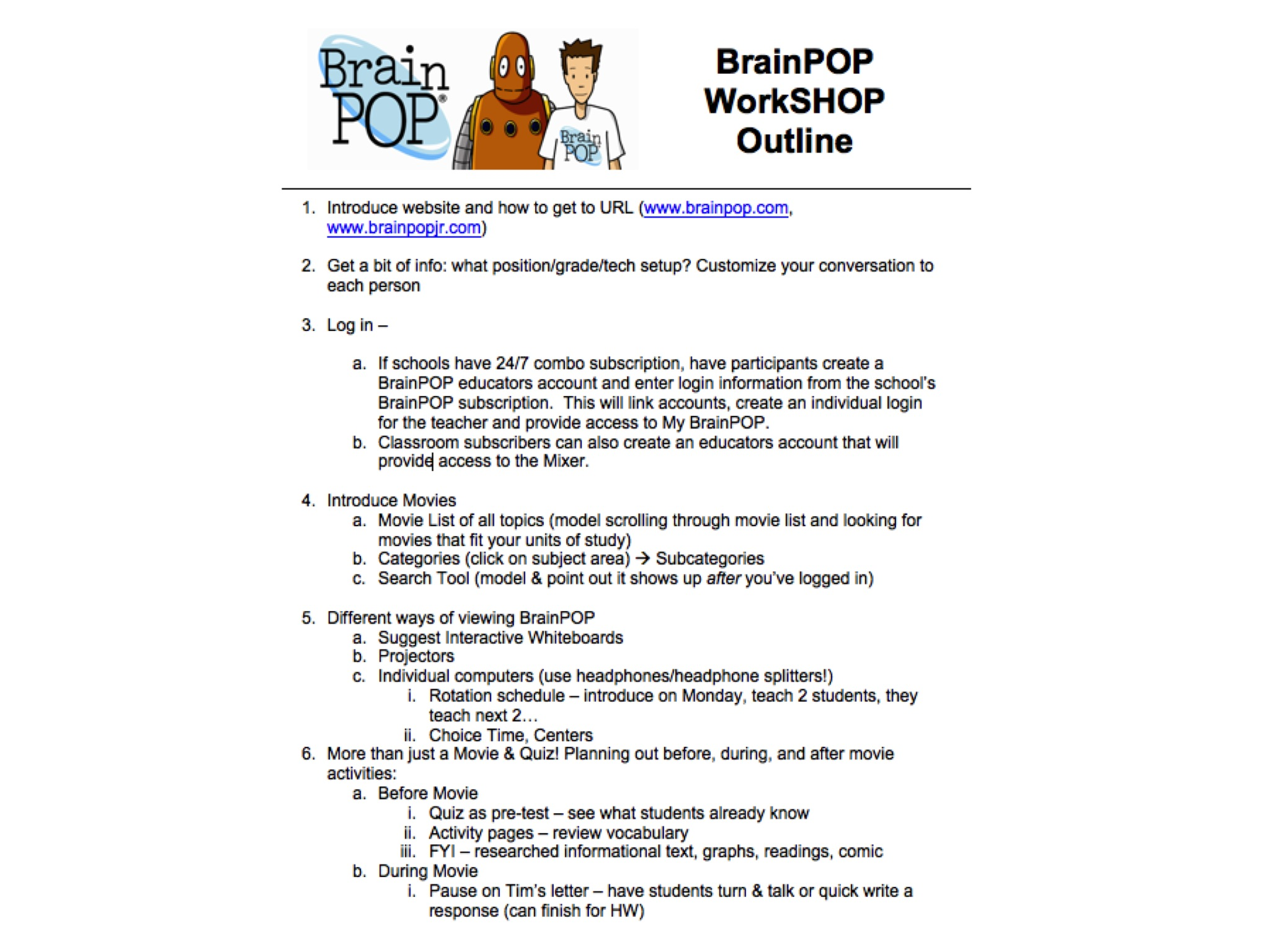 BrainPOP ESL Workshop Outline