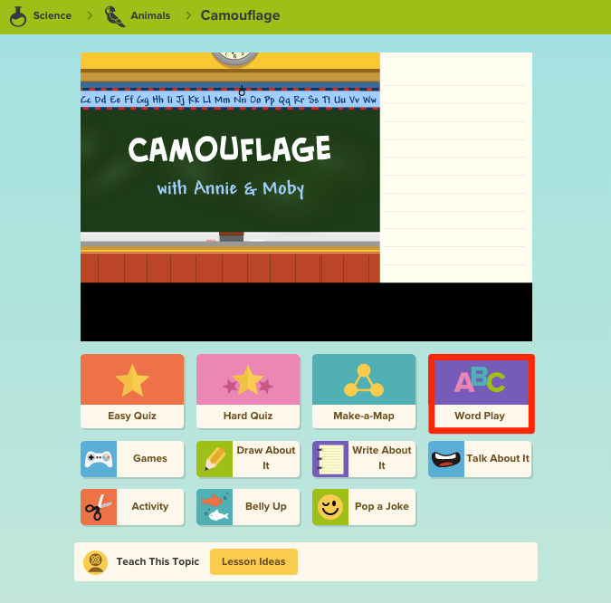 Tips for Using the BrainPOP Jr. Word Play Feature