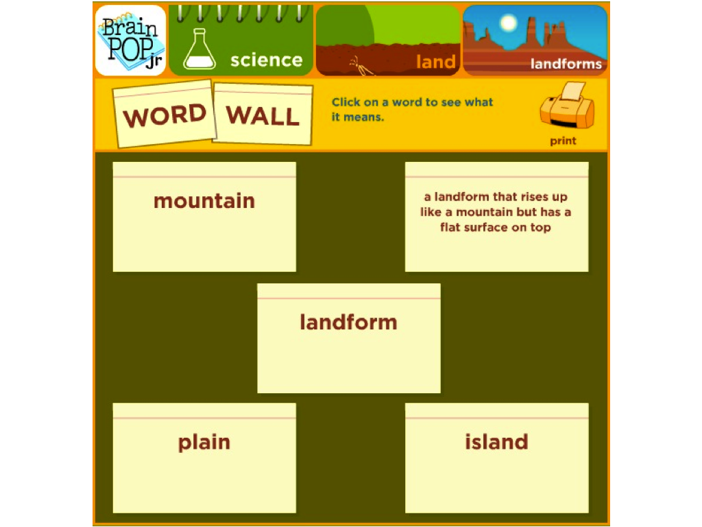 Tips for Using the BrainPOP Jr. Word Wall Feature