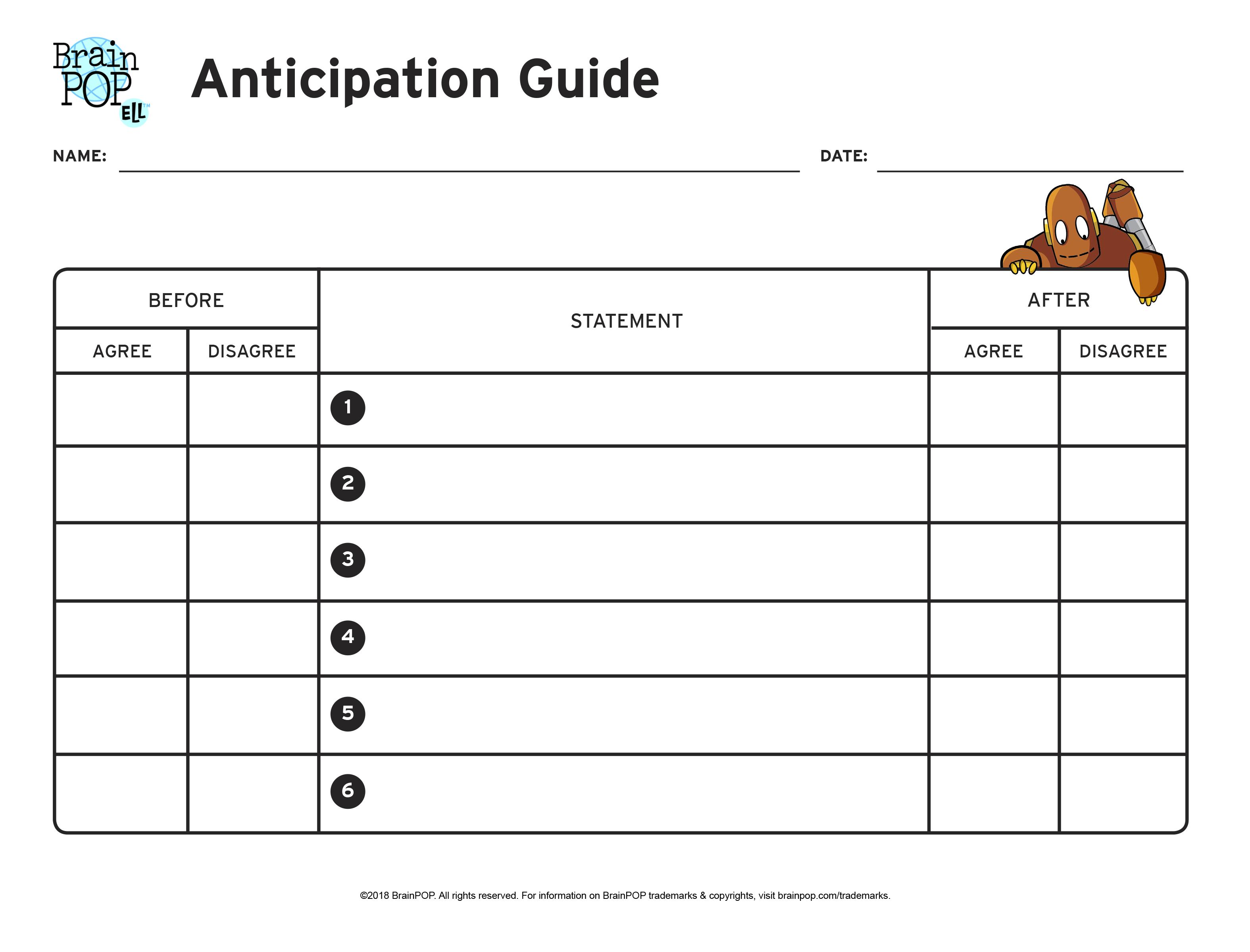Anticipation Guide Graphic Organizer