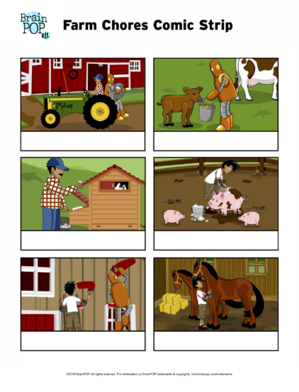 ell chores comic strip verb tense activity