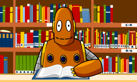 Moby the robot learning in a library in front of books