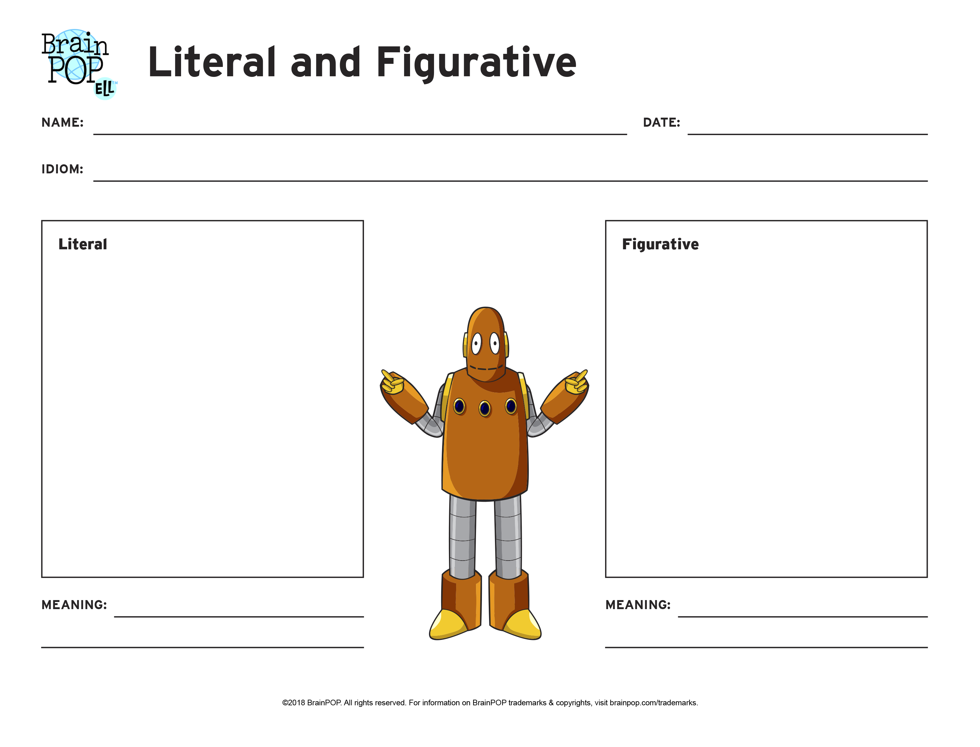 Literal and Figurative Graphic Organizer