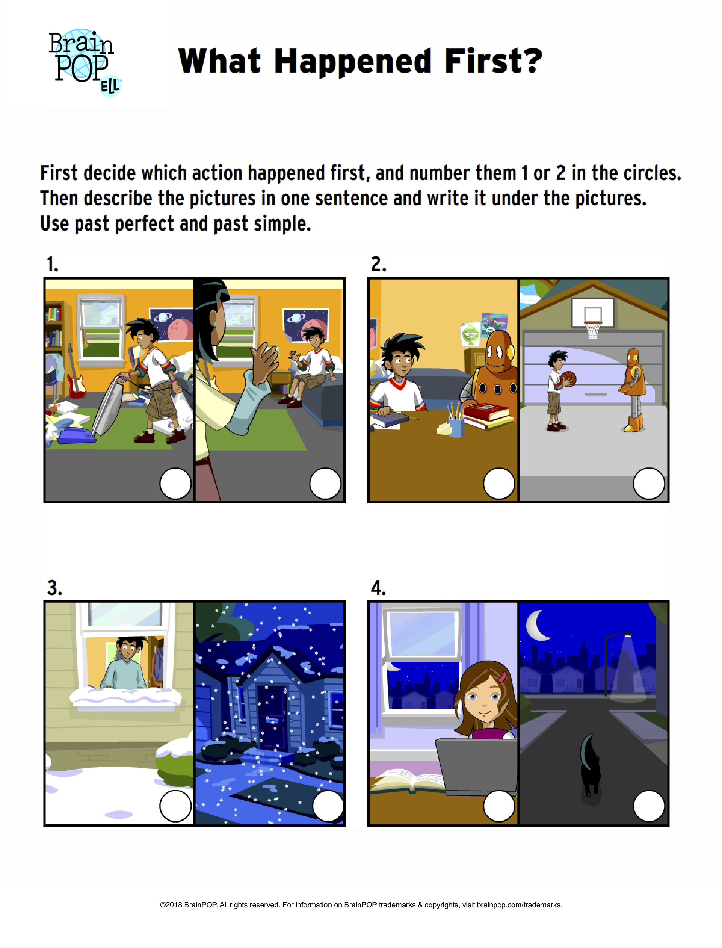 What Happened First? Past Tense Sequence Activity