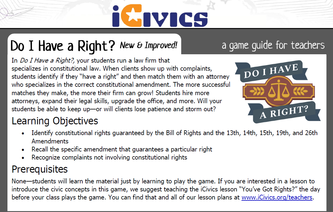 Do I Have a Right? Game Guide