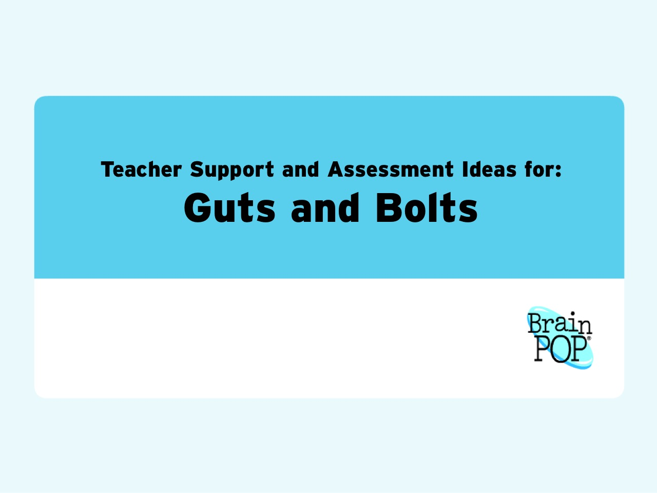Teacher Resources and Assessment Strategies for Guts and Bolts