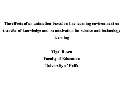 Effects of Animation-Based online learning