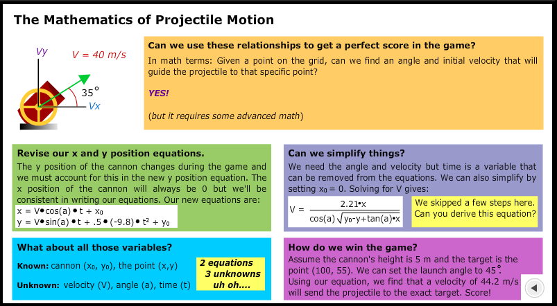 mathematics of projectile motion 2