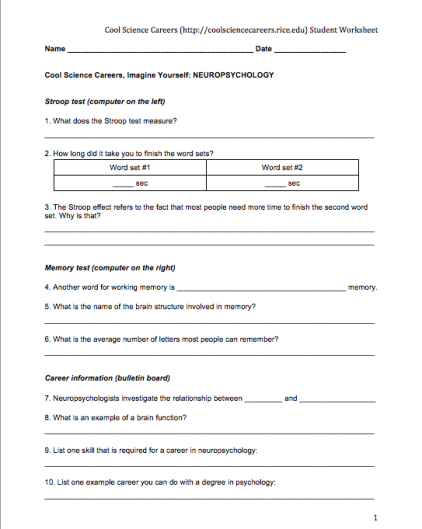 Cool Science Careers Worksheets