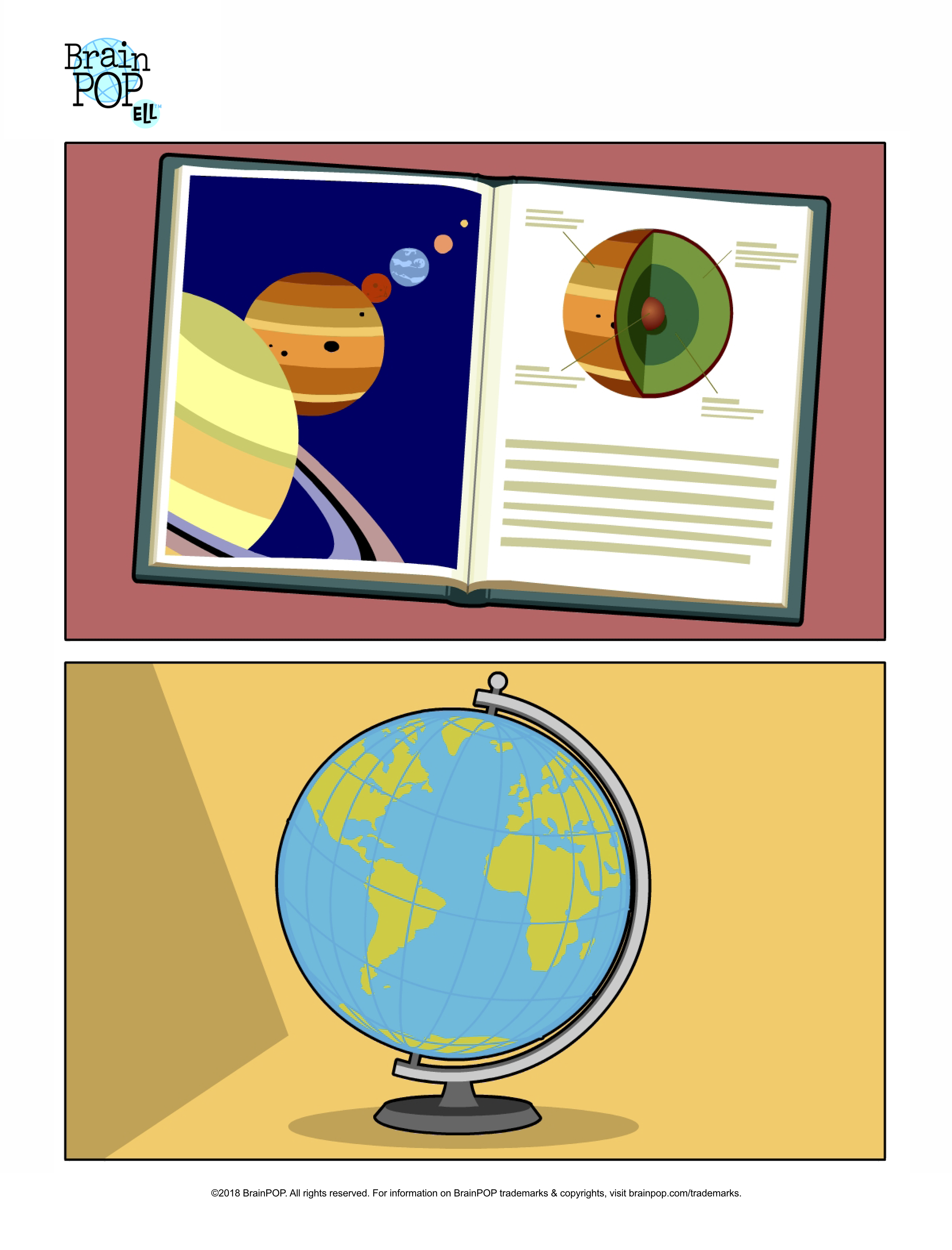 Astronomy Book and Globe Picture Prompt