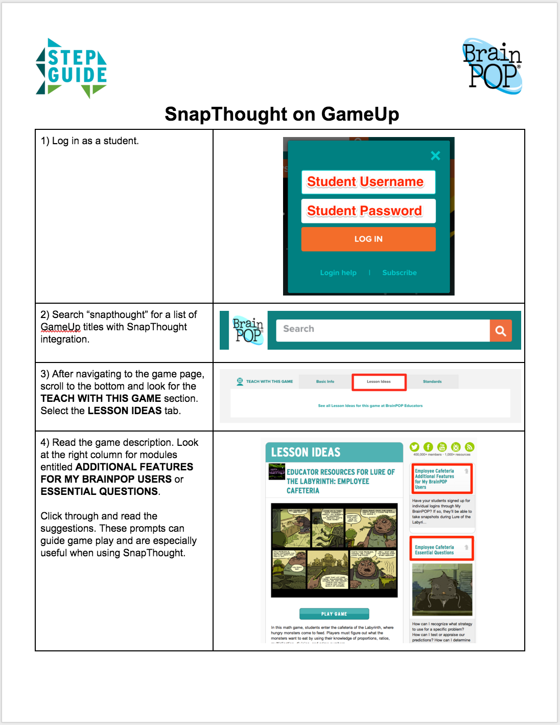 GameUp SnapThought Step Guide