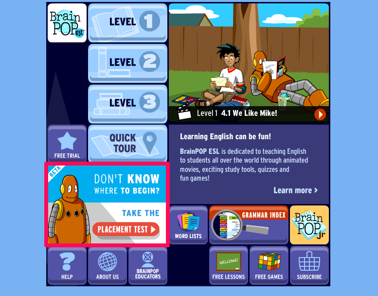image relating to Free Printable Placement Test named The BrainPOP ELL Position Check Is Dwell! BrainPOP Educators