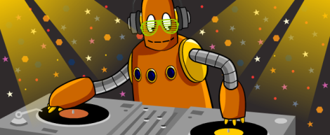 moby the robot as a dj scratching discs at a party