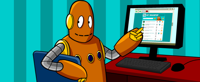 a robot named Moby is sitting at a computer pointing to something on his monitor.