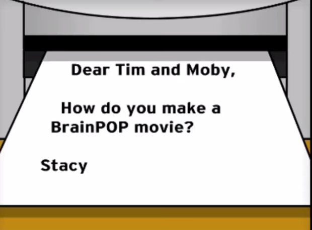 paper from printer asking how to make a BrainPOP movie