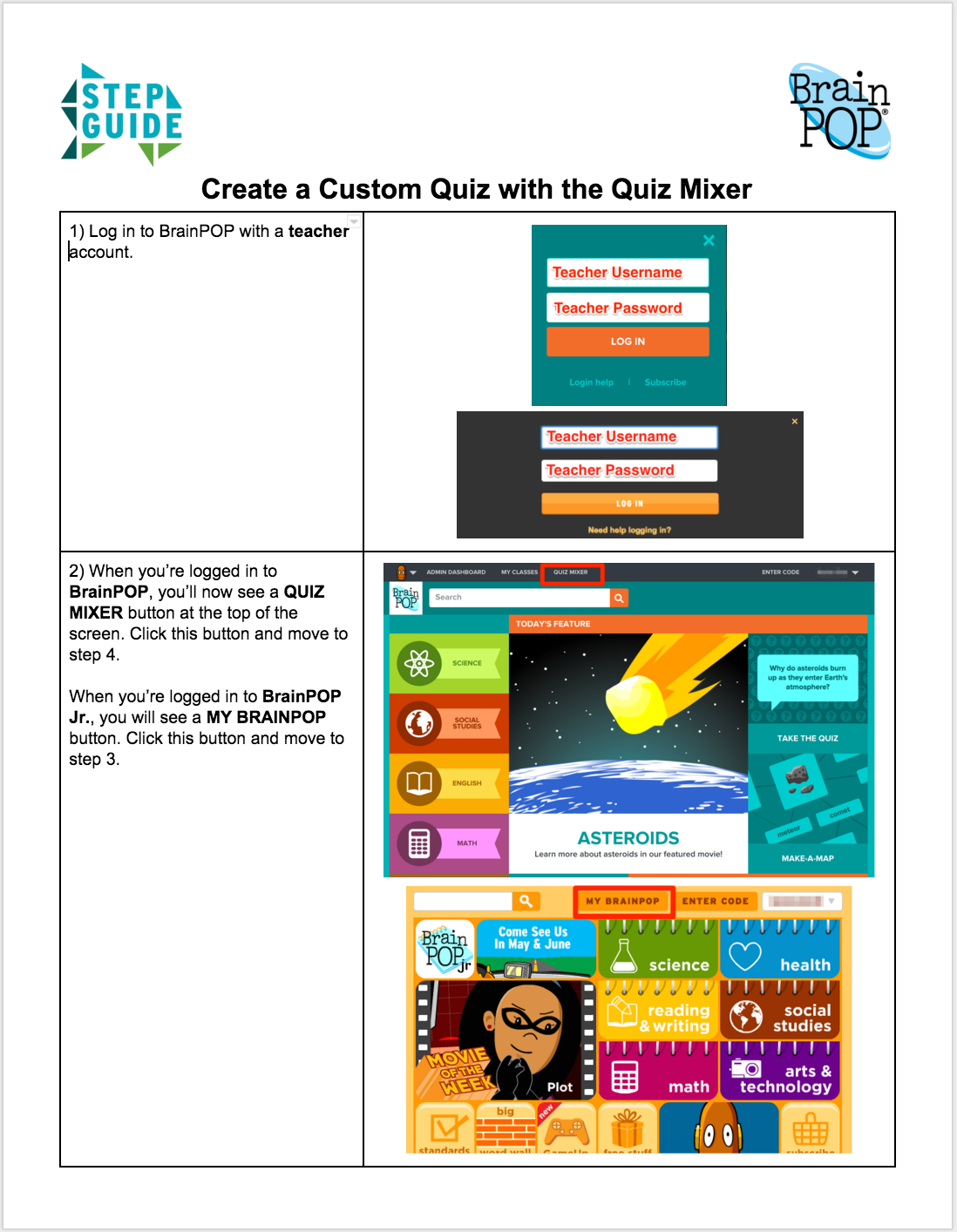 Quiz Mixer Step Guide
