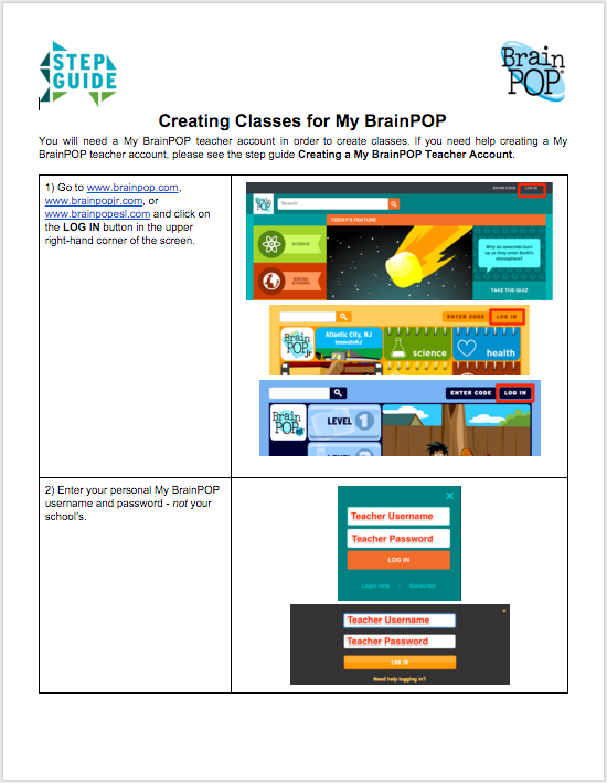 Creating Classes for My BrainPOP – Step Guide