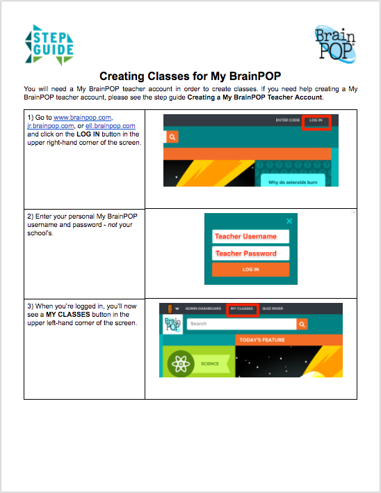 Creating Classes for My BrainPOP