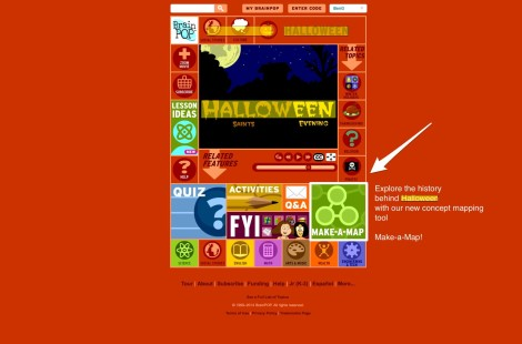 highlighted make-a-map on Halloween BrainPOP page