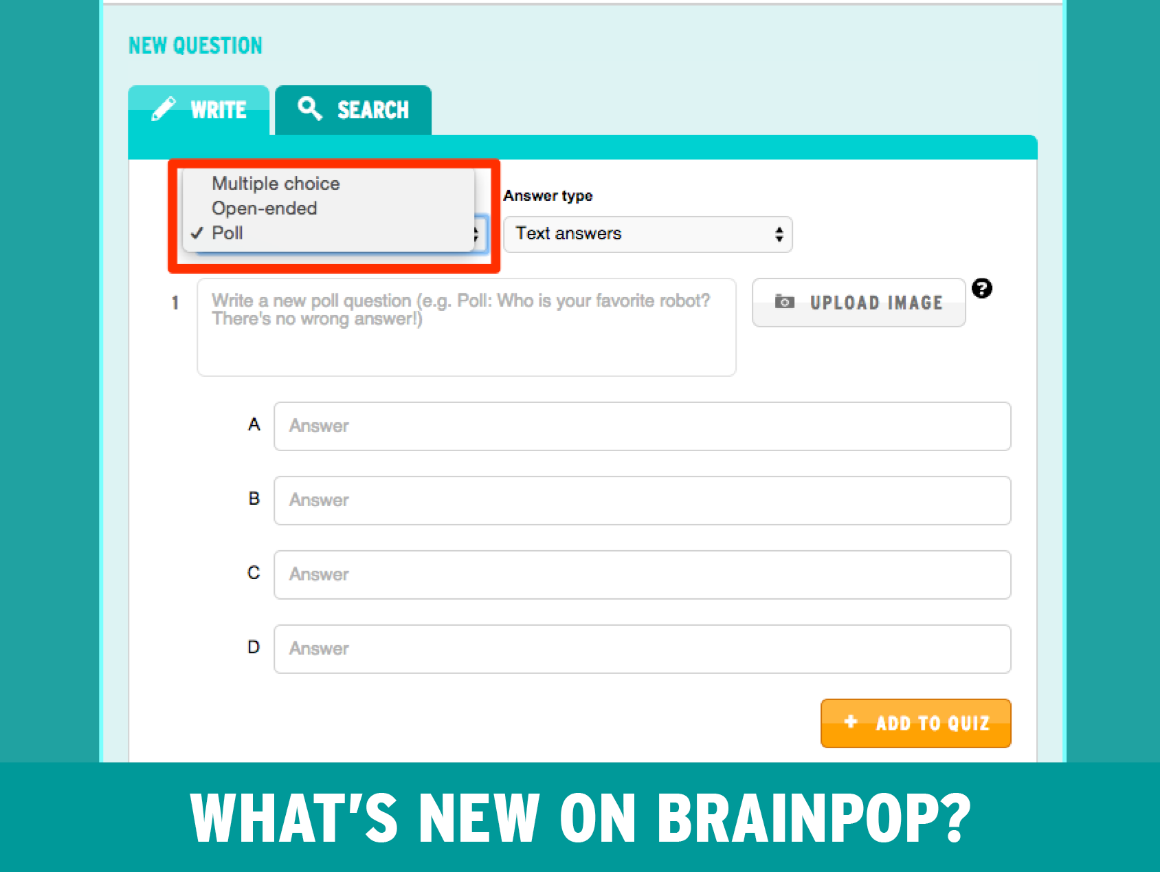 highlighed options for writing a question on BrainPOP mixer