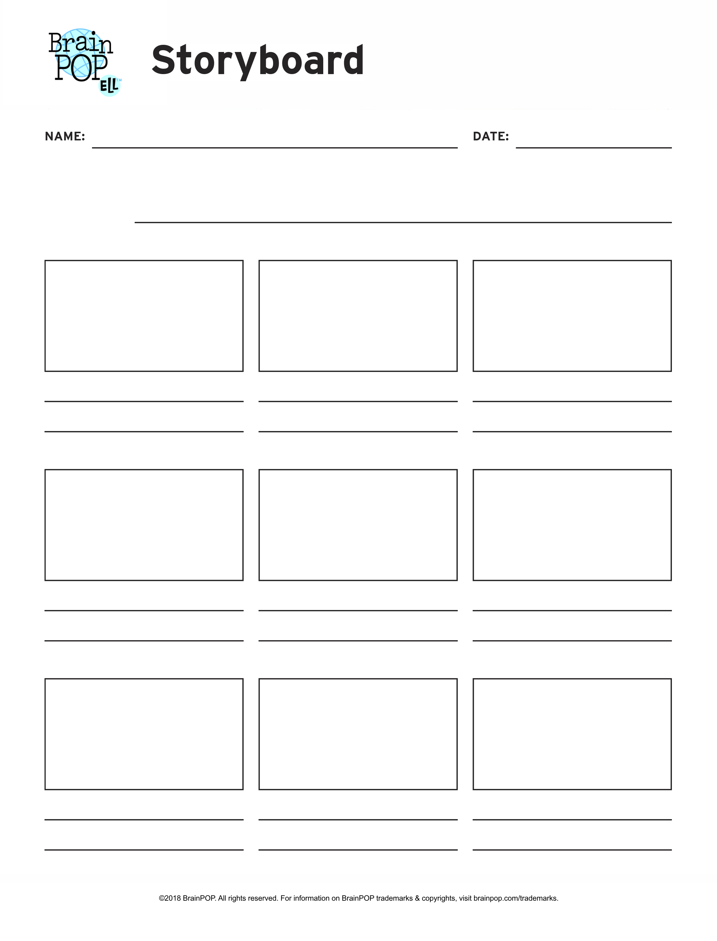 photograph regarding Printable Storyboard identified as Blank Storyboard Sport Website page BrainPOP Educators