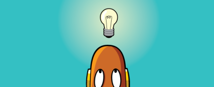 Moby's head with a lightbulb above it