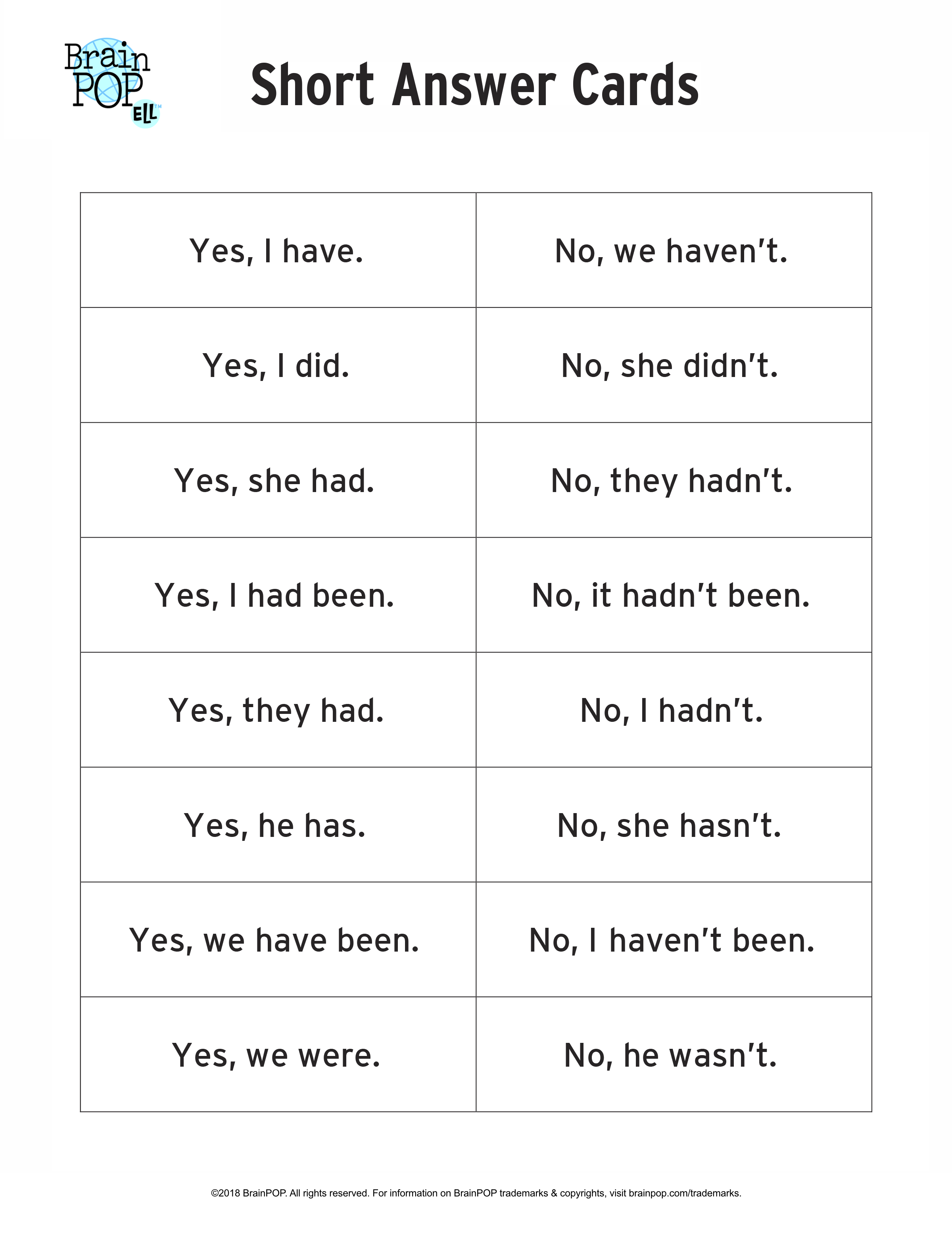 Past Tense Short Answer Cards