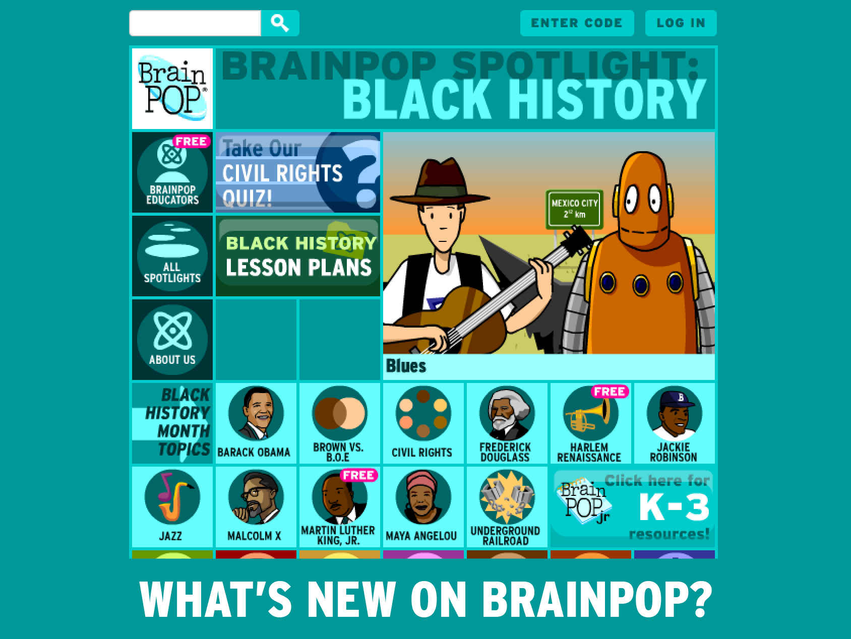 Screenshot of Black History BrainPOP spotlight page