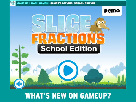 title page of Slice Fractions game