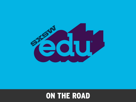 "slanted SXSW next to edu and its long shadow with ""on the road"" as a subtitle"