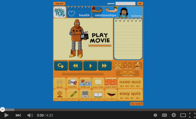 Using BrainPOP Jr. to teach about bullying