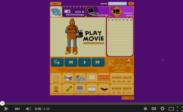 Using BrainPOP Jr. to teach about internet safety