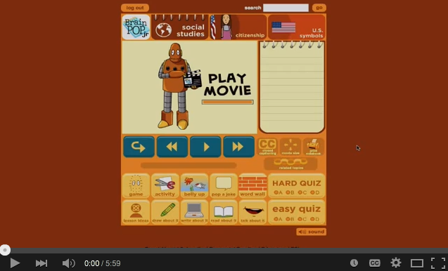 Using BrainPOP Jr. to teach about U.S. symbols