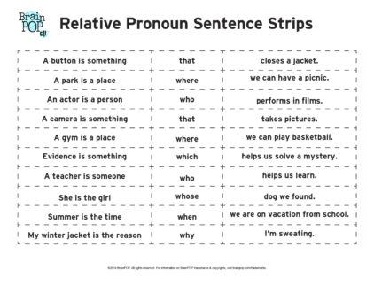 photograph about Printable Sentence Strips named Relative Pronouns Sentence Strips BrainPOP Educators