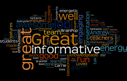 Word cloud containing Evaluations from CBE workshop at ISTE 2015
