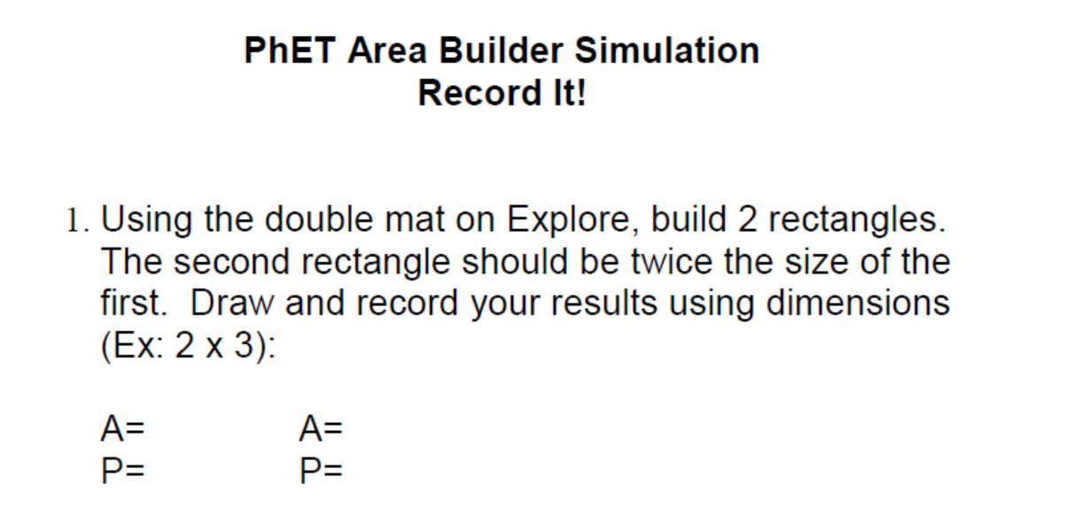 PhET Area Builder Lesson Plan Recording Sheet