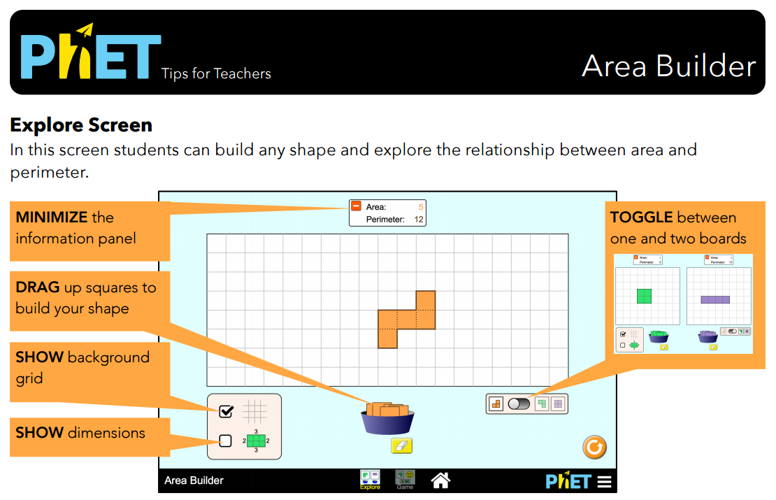 Area Builder Simulation Overview for Teachers