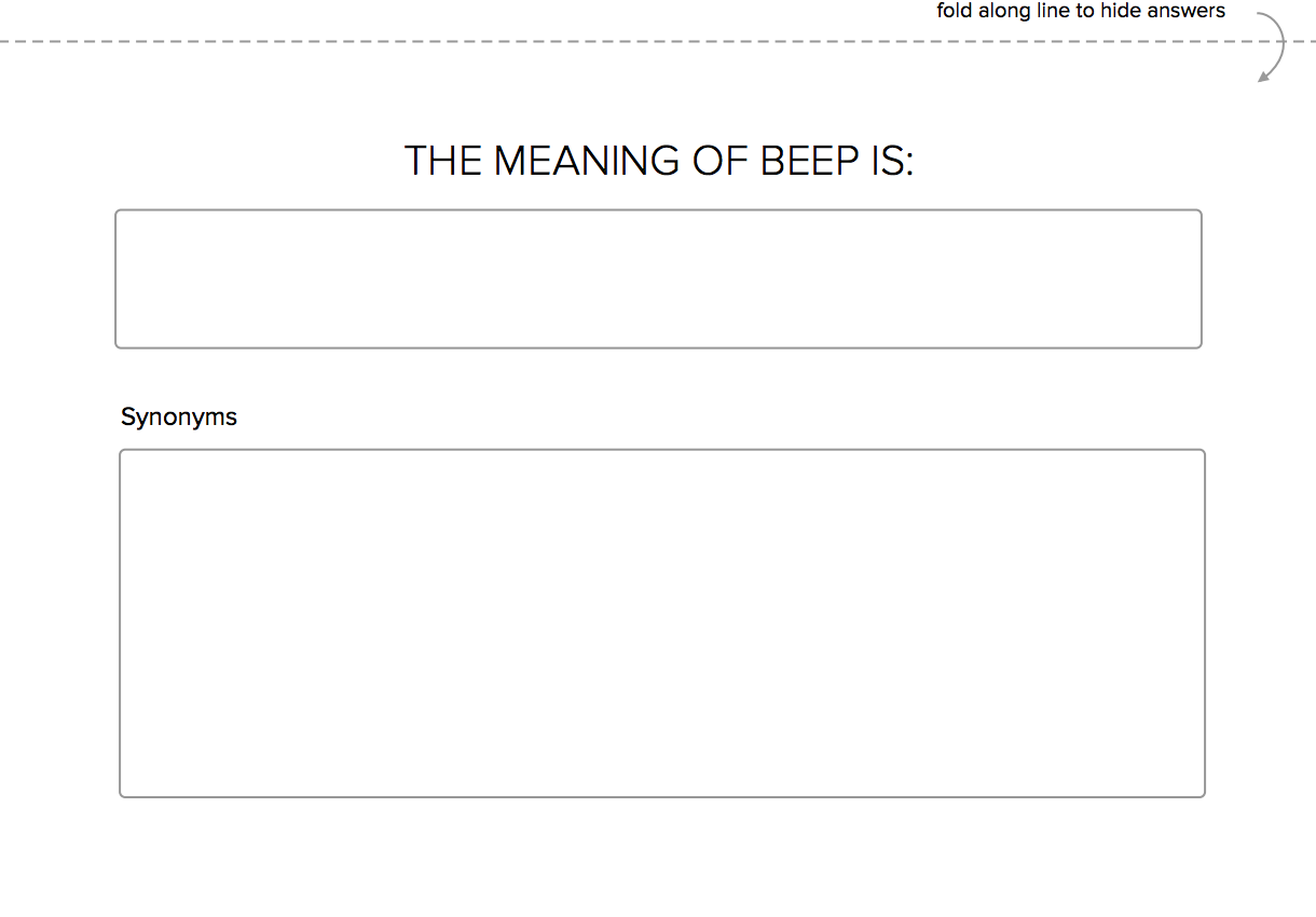 Design Your Own Meaning of Beep Game
