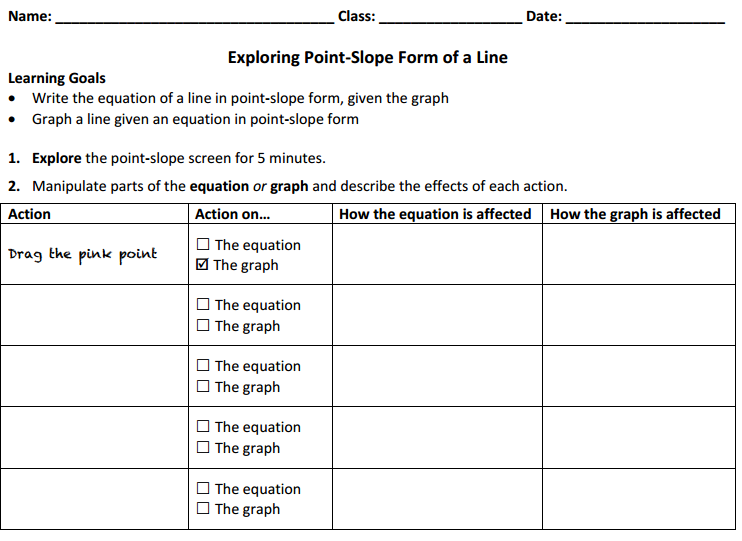 Point Slope Activity Sheet Brainpop Educators