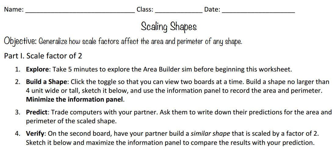 Scaling Shapes Activity Page