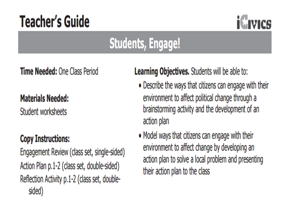 Students, Engage! Lesson Plan