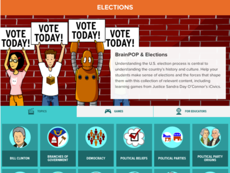 This is the election theme page for BrainPOP.com