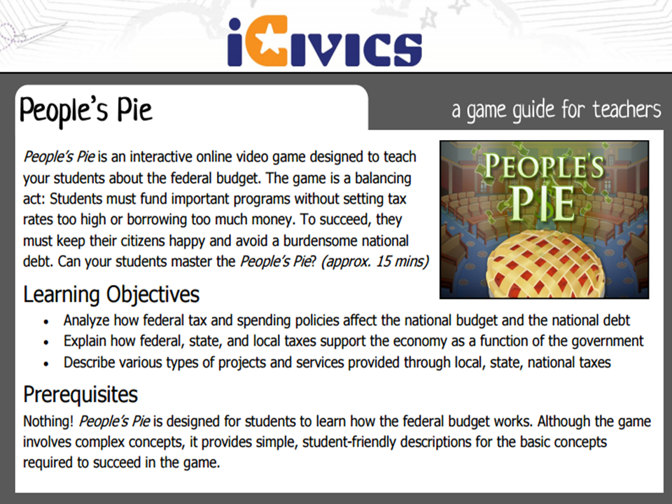 People's Pie Game Guide