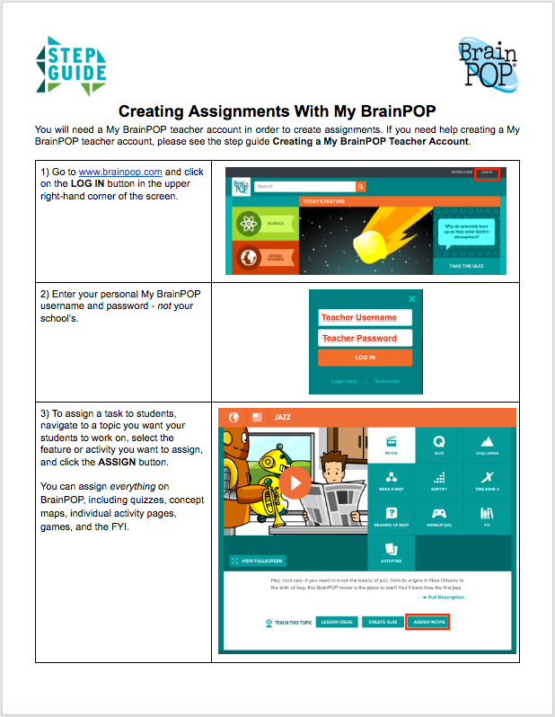 Creating Assignments With My Brainpop